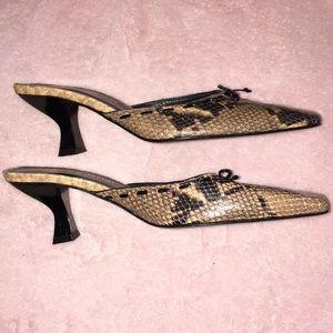 Charles David 7 Brand New leather snakeskin mules